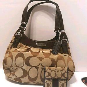 Coach Soho signature Hobo brown shoulder bag and w